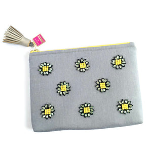 daisey rhinestone flower clutch bag