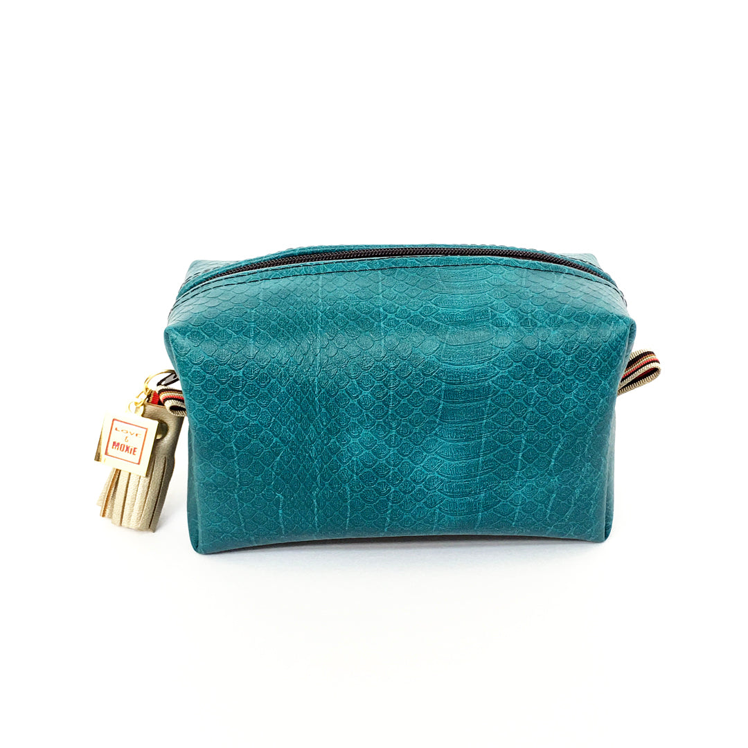 teal reptile mini clutch blue