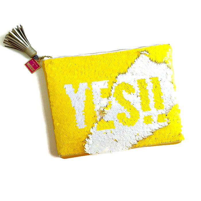 yellow and white sequin clutch bag
