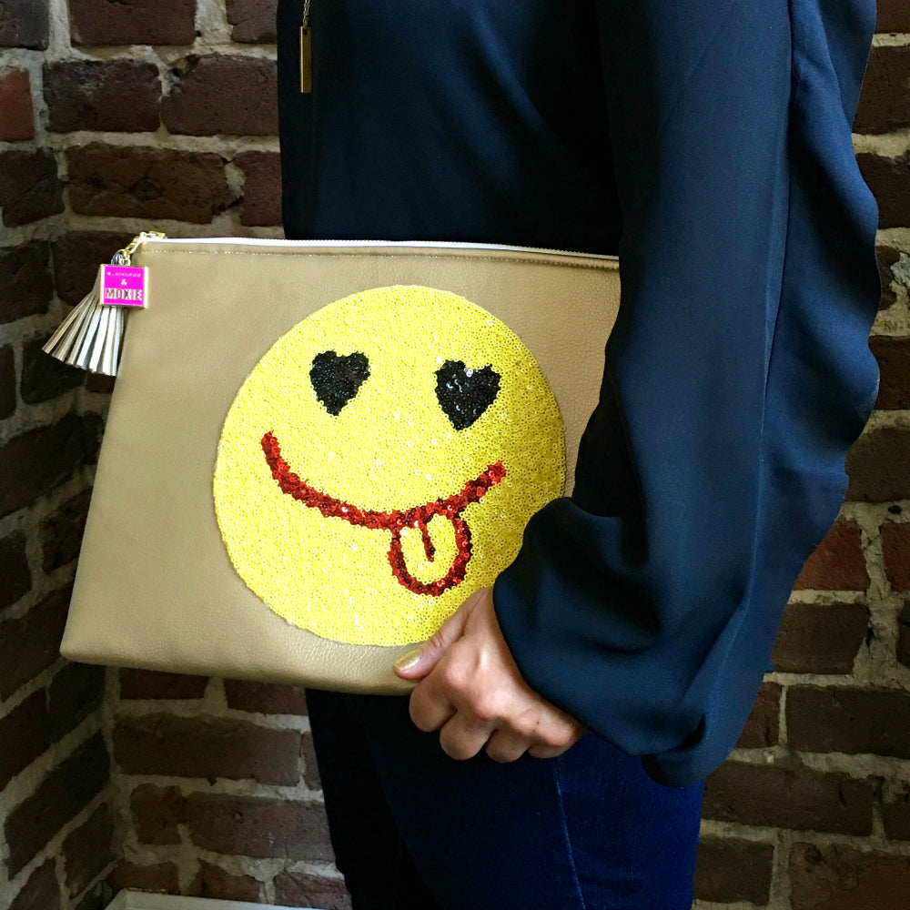 sequin emoji large clutch