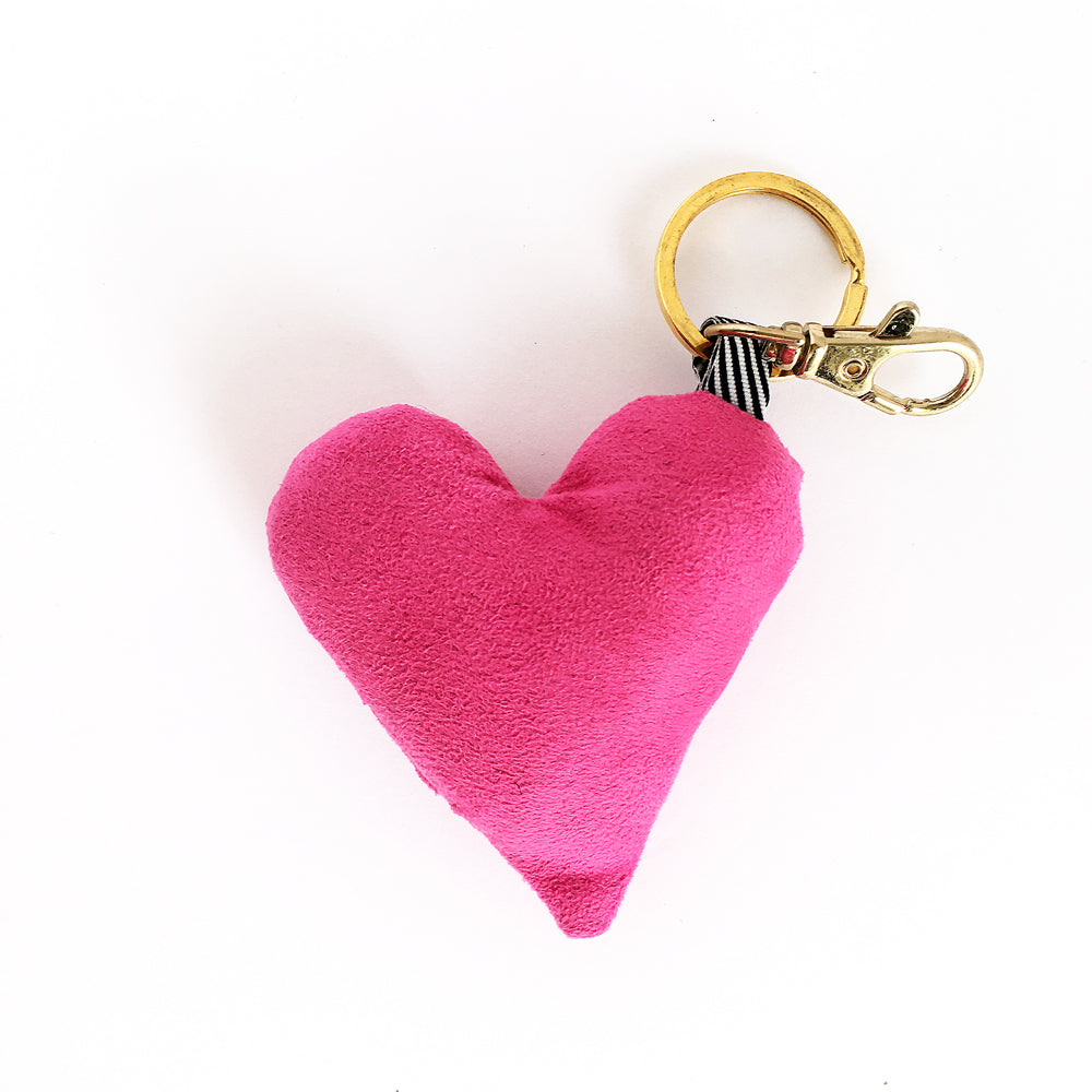 pink heart bag charm and key chain