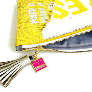 "Two-Tone Sequin ""YES"" Clutch"