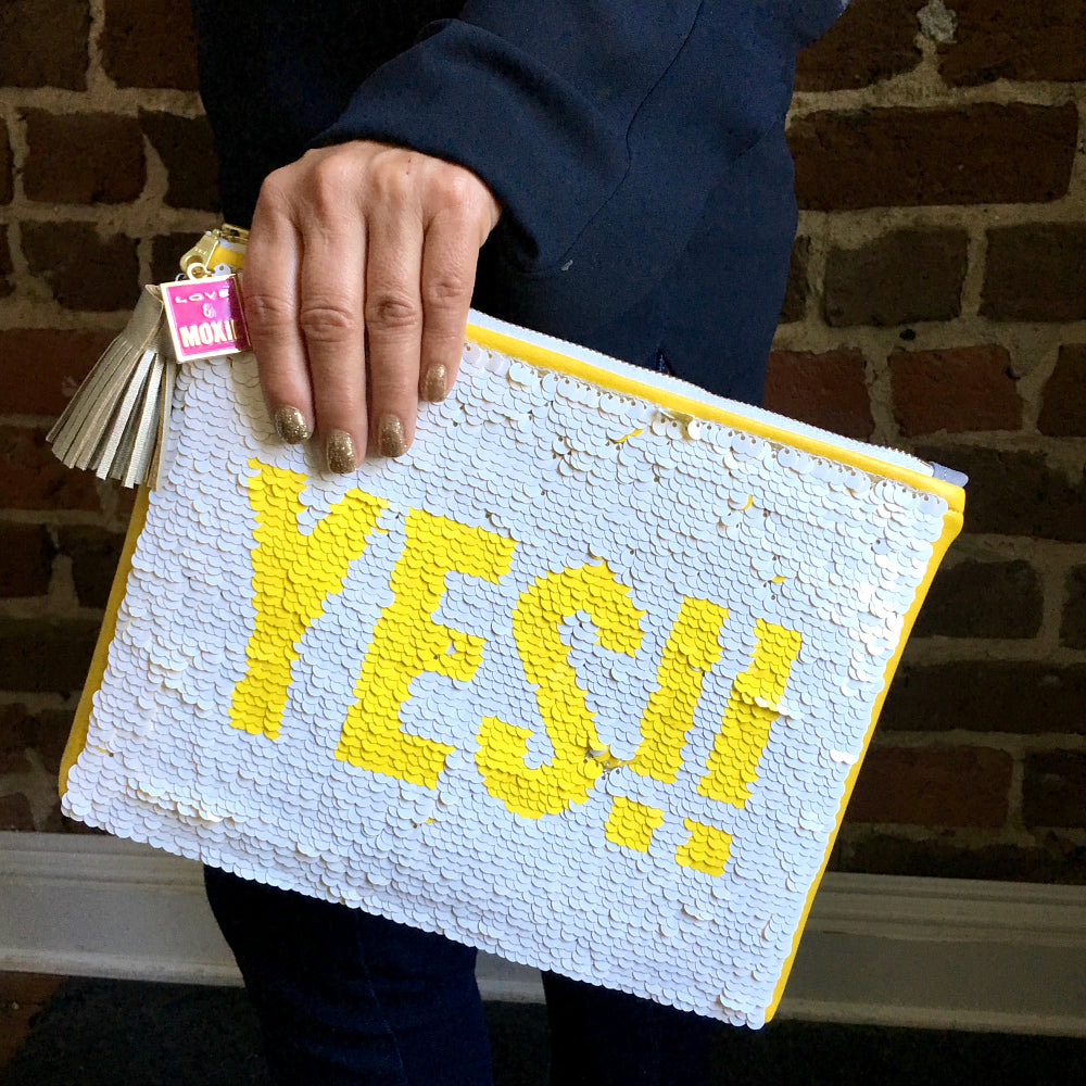 sequin clutch white and yellow