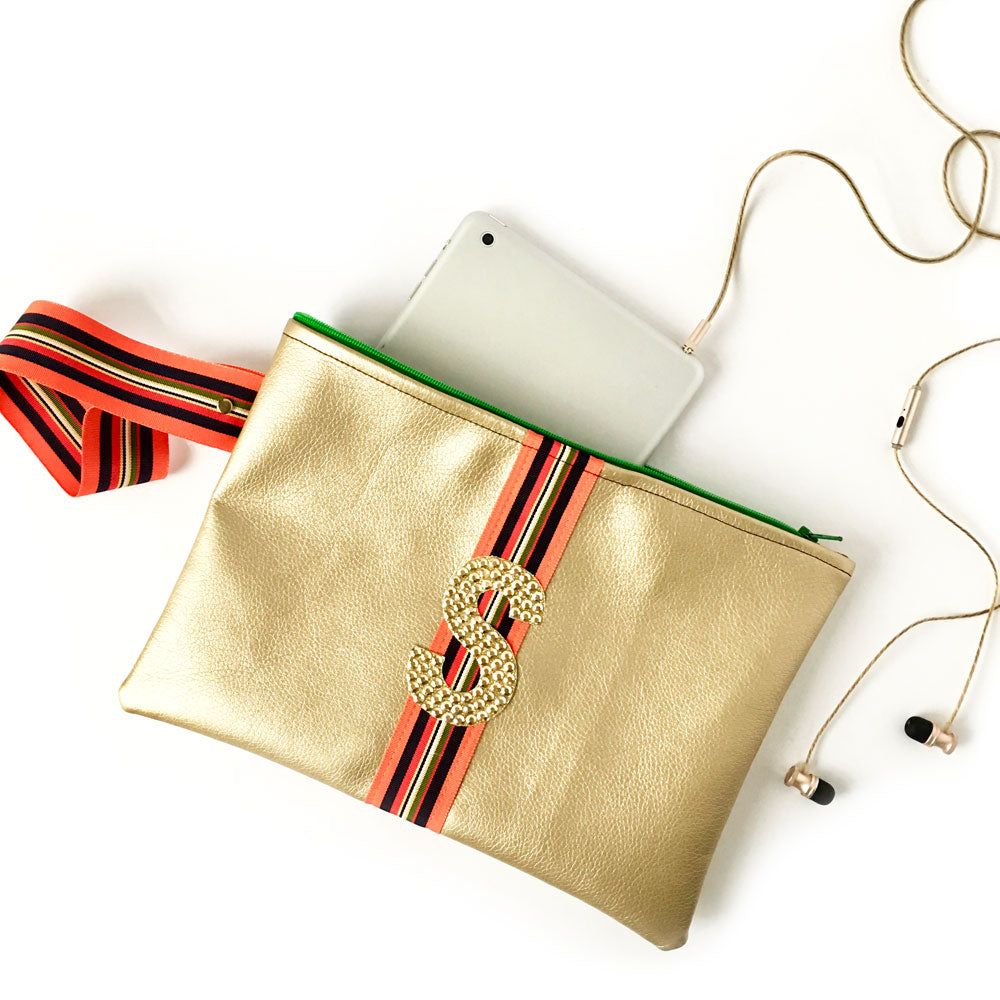 Ainsley Gold Initial Wristlet