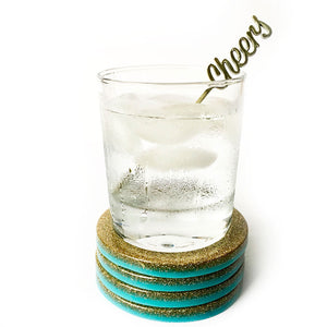 Felicity Hand Poured Resin Coaster Set - Aqua