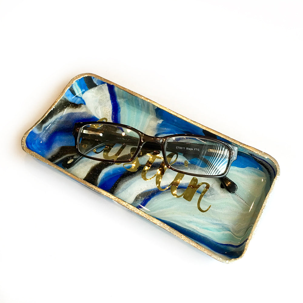 marbled blue tray by LOVE & MOXiE