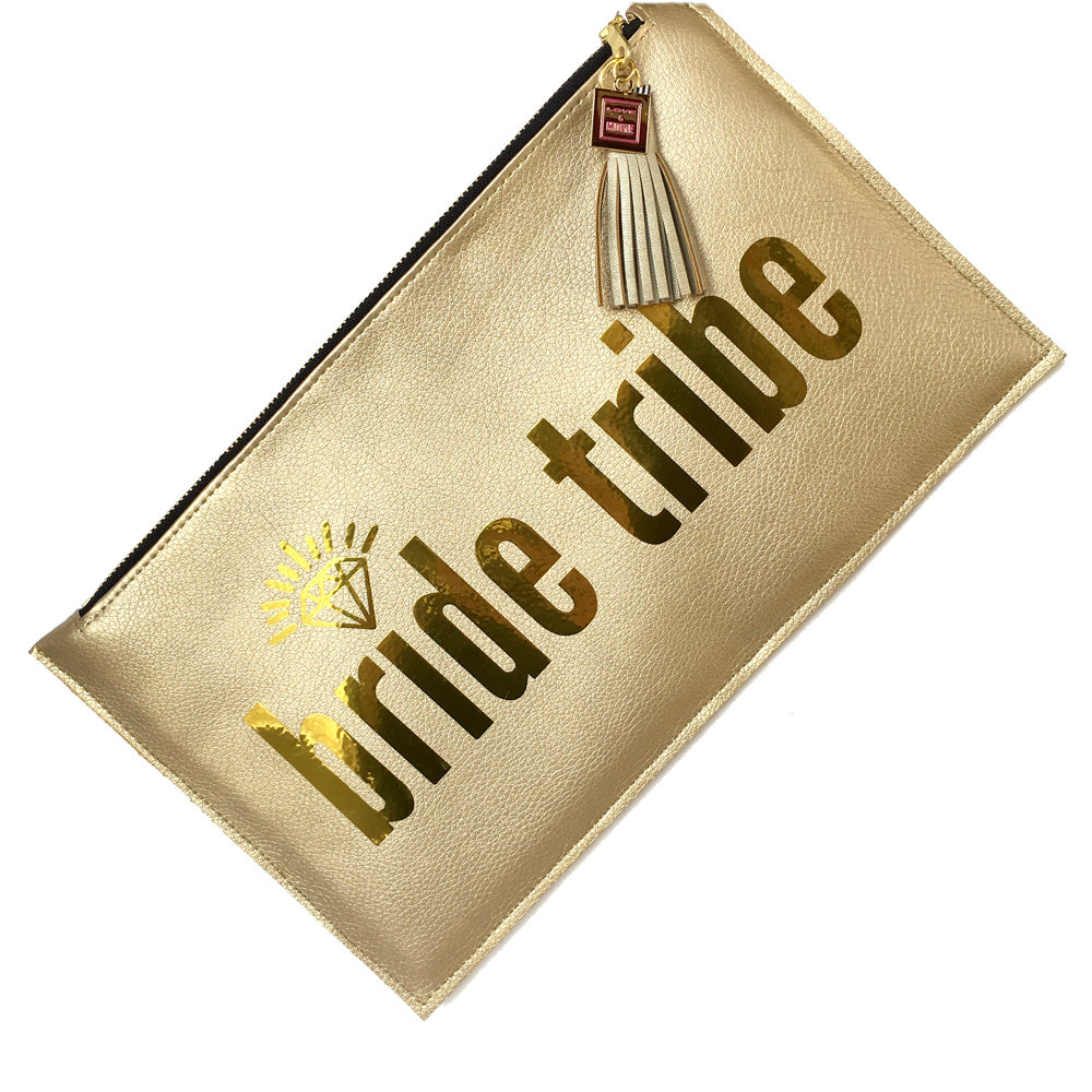bride tribe clutch gold