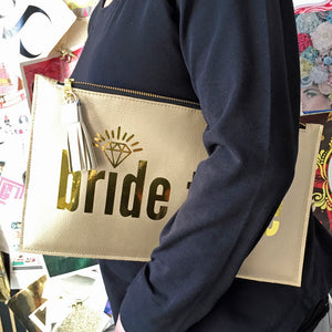 Bride Tribe Gold Clutch Bag