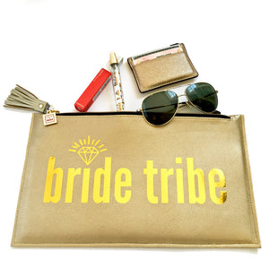 bride tribe clutch gold handcrafted