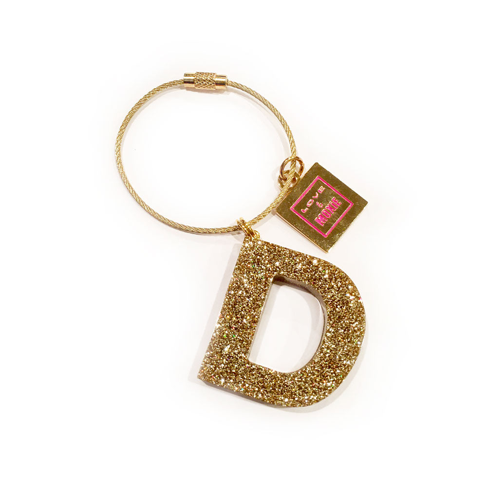 Hand Poured Resin Initial Bag Charm & Keychain - Gold