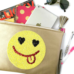 large emoji zipper bag