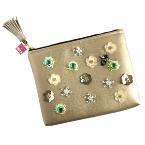 rhinestone flower gold clutch