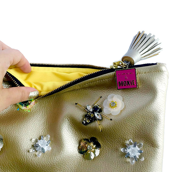 bejeweled flower and bee clutch bag