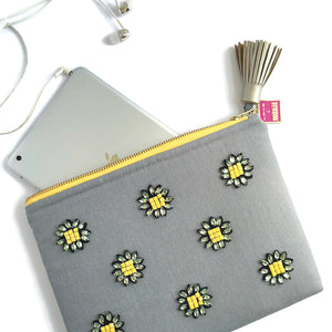 bejeweled flower tech bag