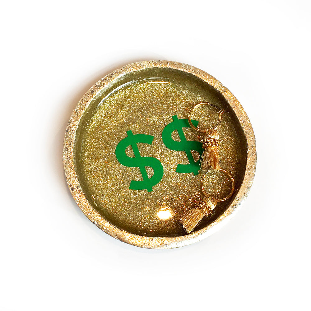 gold glitter dollar ring dish