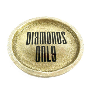 gold glitter diamonds only ring dish