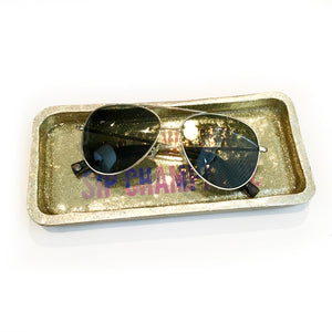 save water sip champagne gold tray