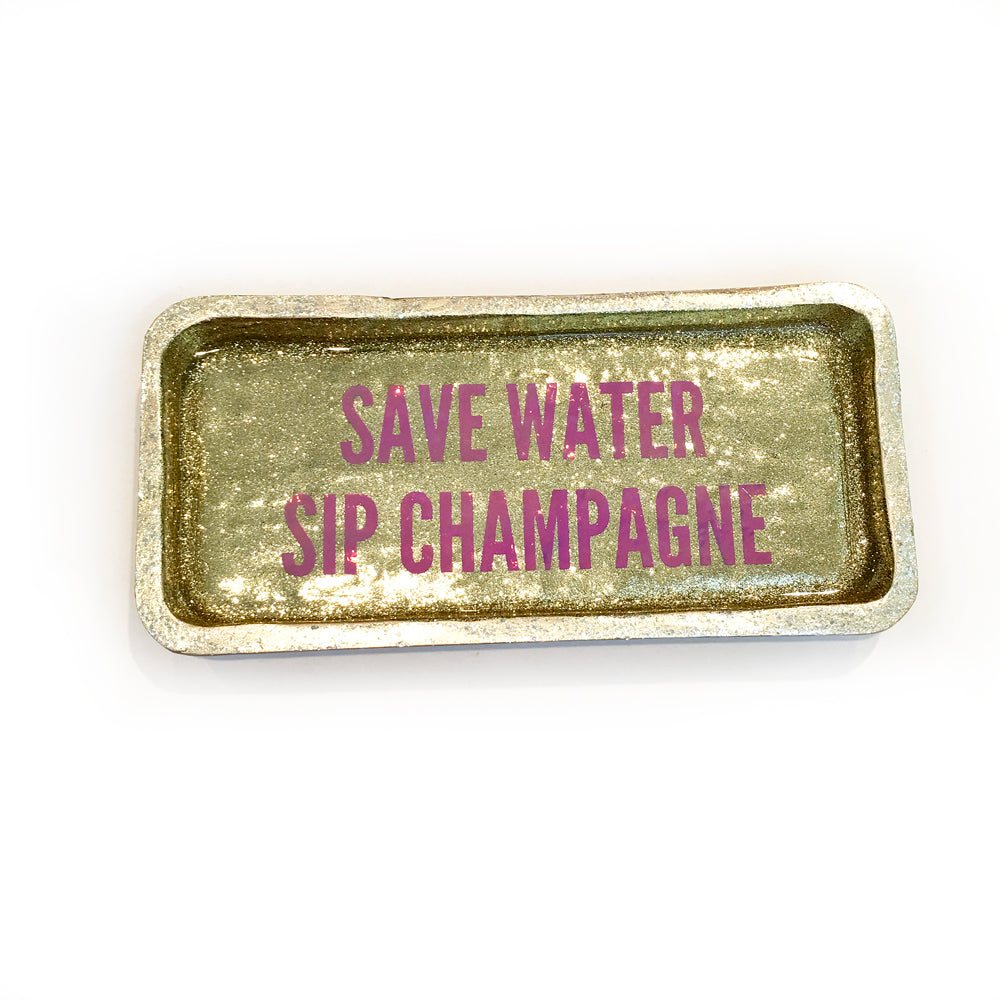 save water sip champage tray