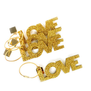LOVE Gold Acrylic Bag Charm & Key Chain
