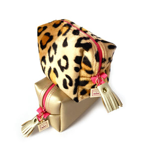 pink leopard gold leather bag