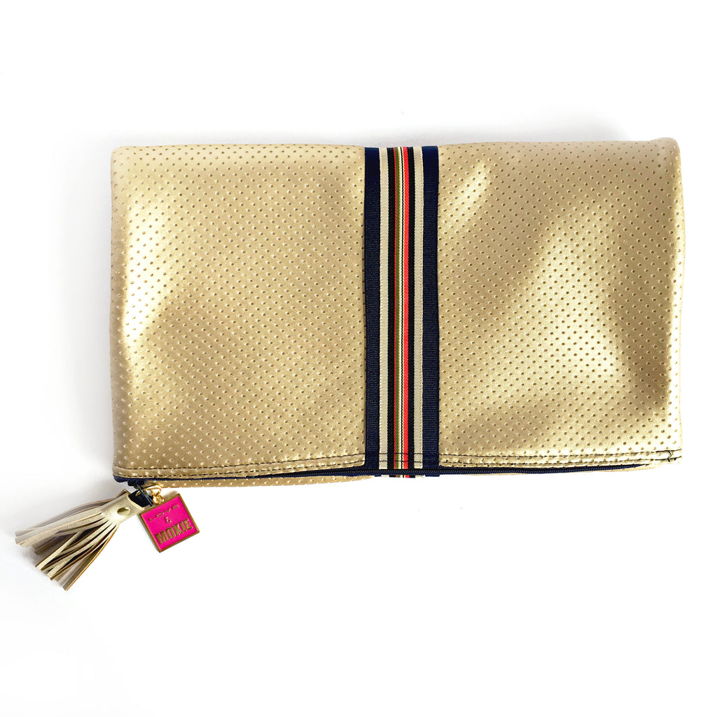 gold fold over clutch
