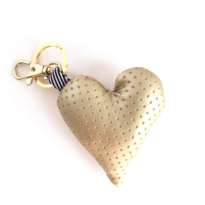 gold heart bag charm