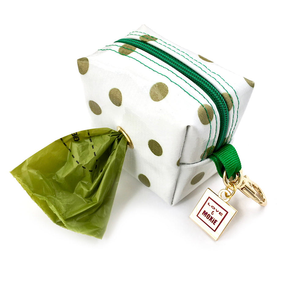 polka dot dog waste bag holder