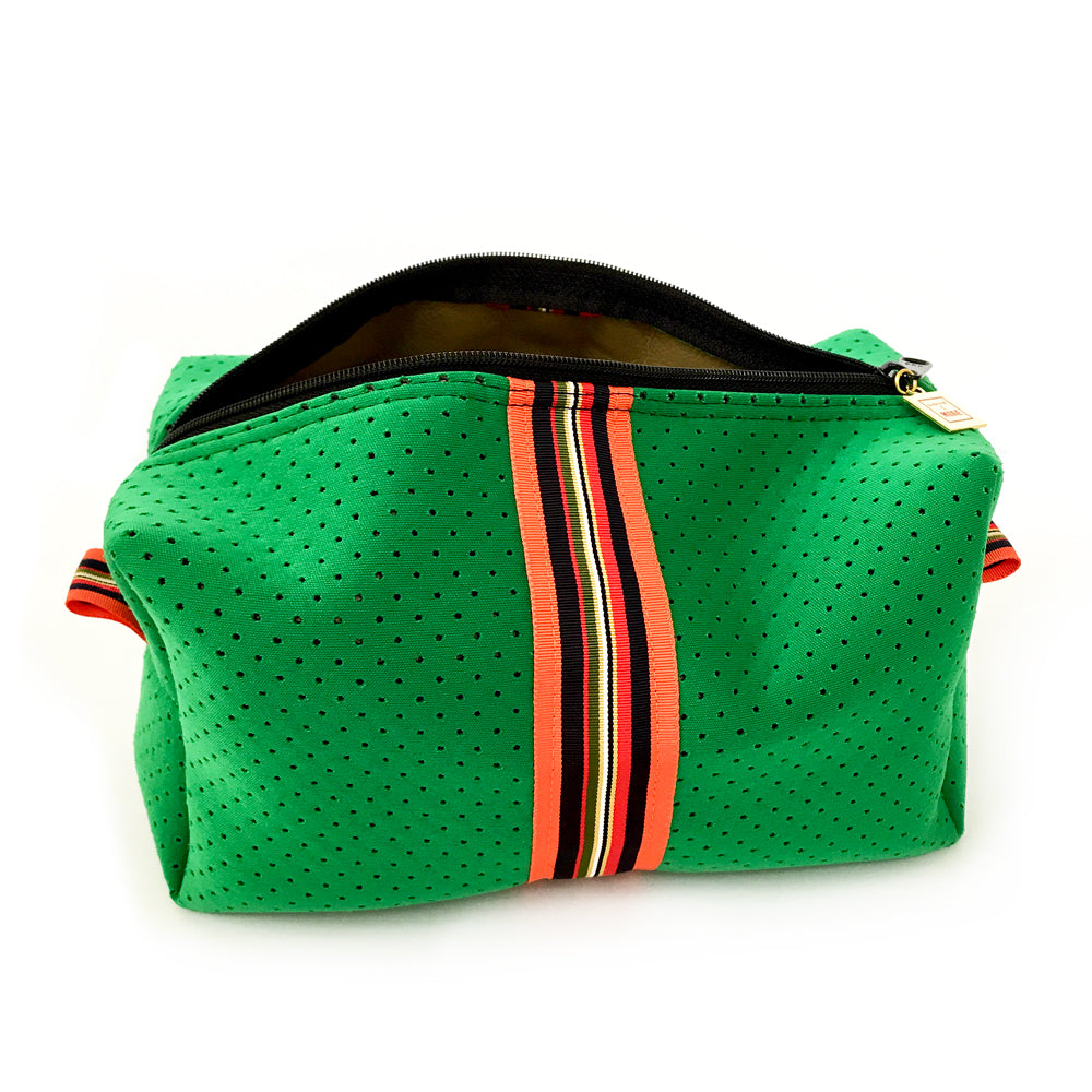 green neoprene travel bag