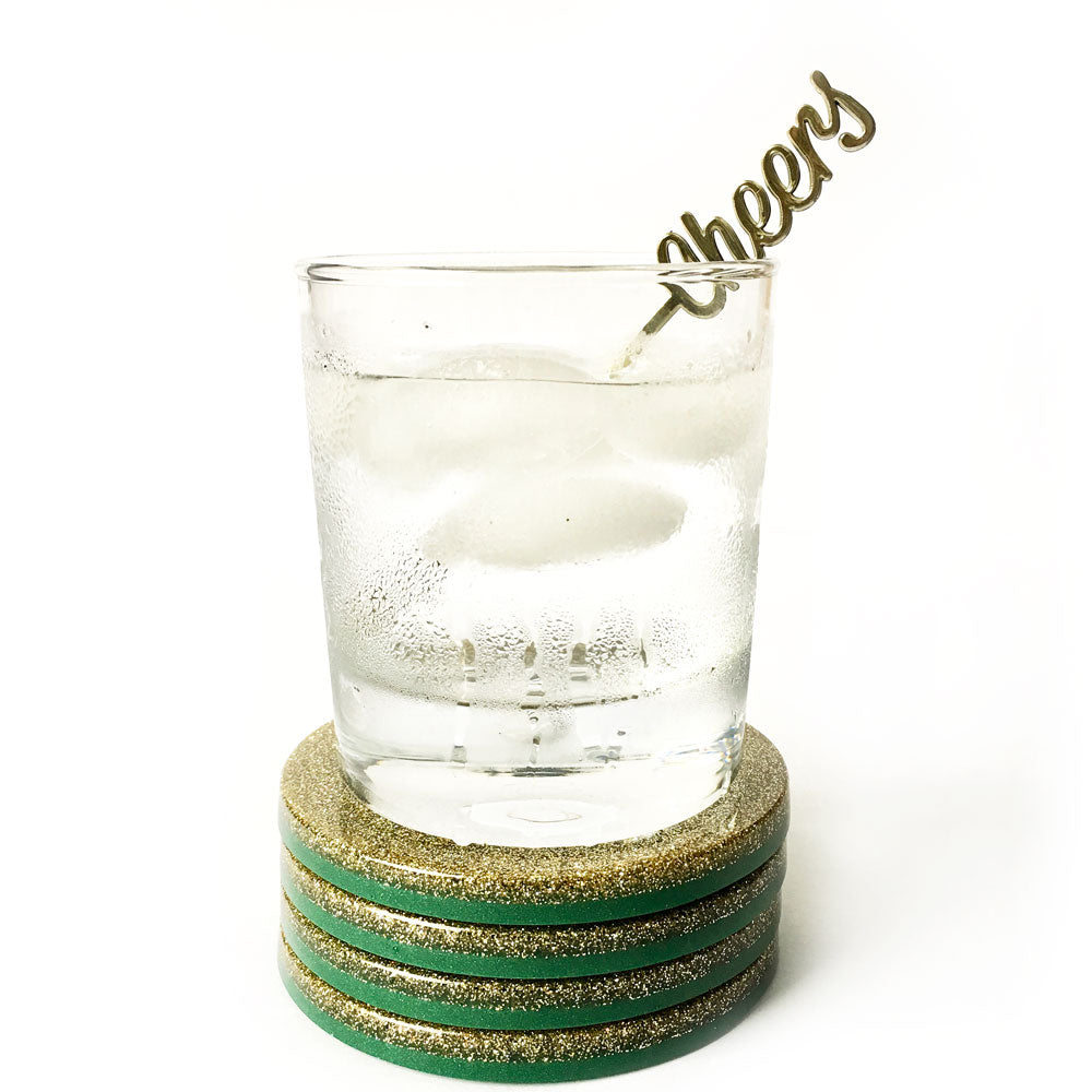 Felicity Hand Poured Resin Coaster Set - Green