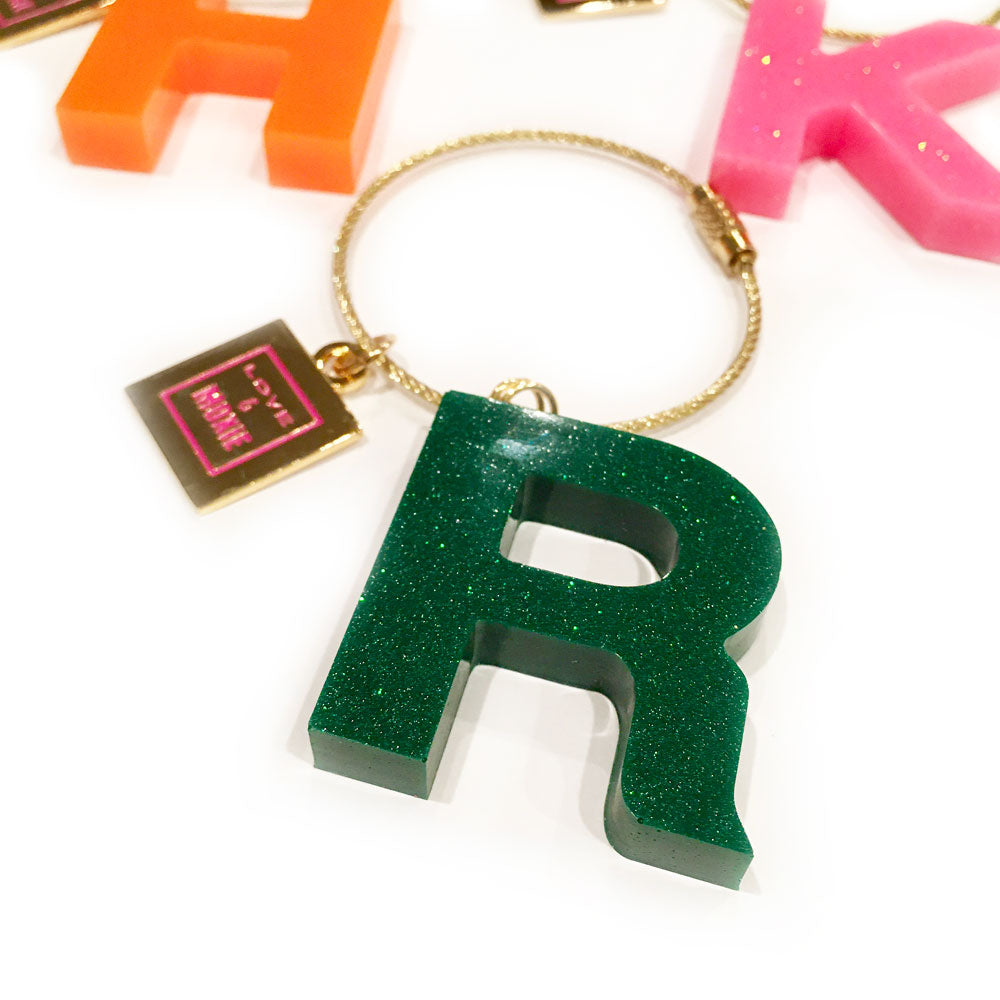 Hand Poured Resin Initial Bag Charm & Keychain - Green