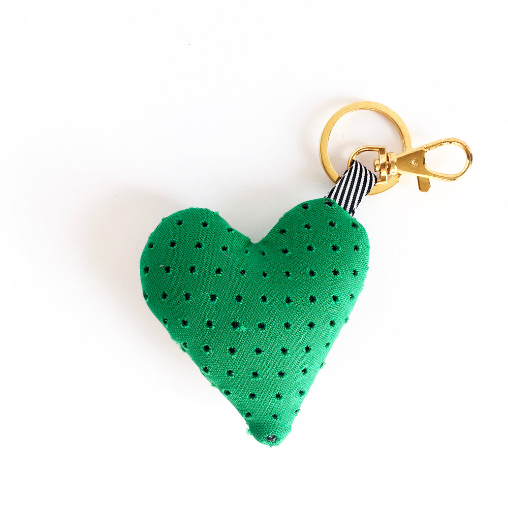 green heart purse charm keychain