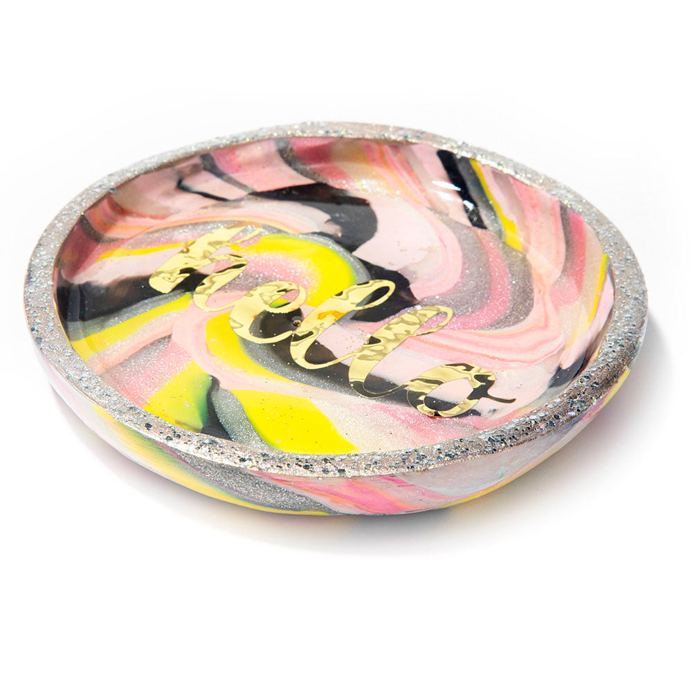 Pink & Silver Marbled HELLO Trinket Dish