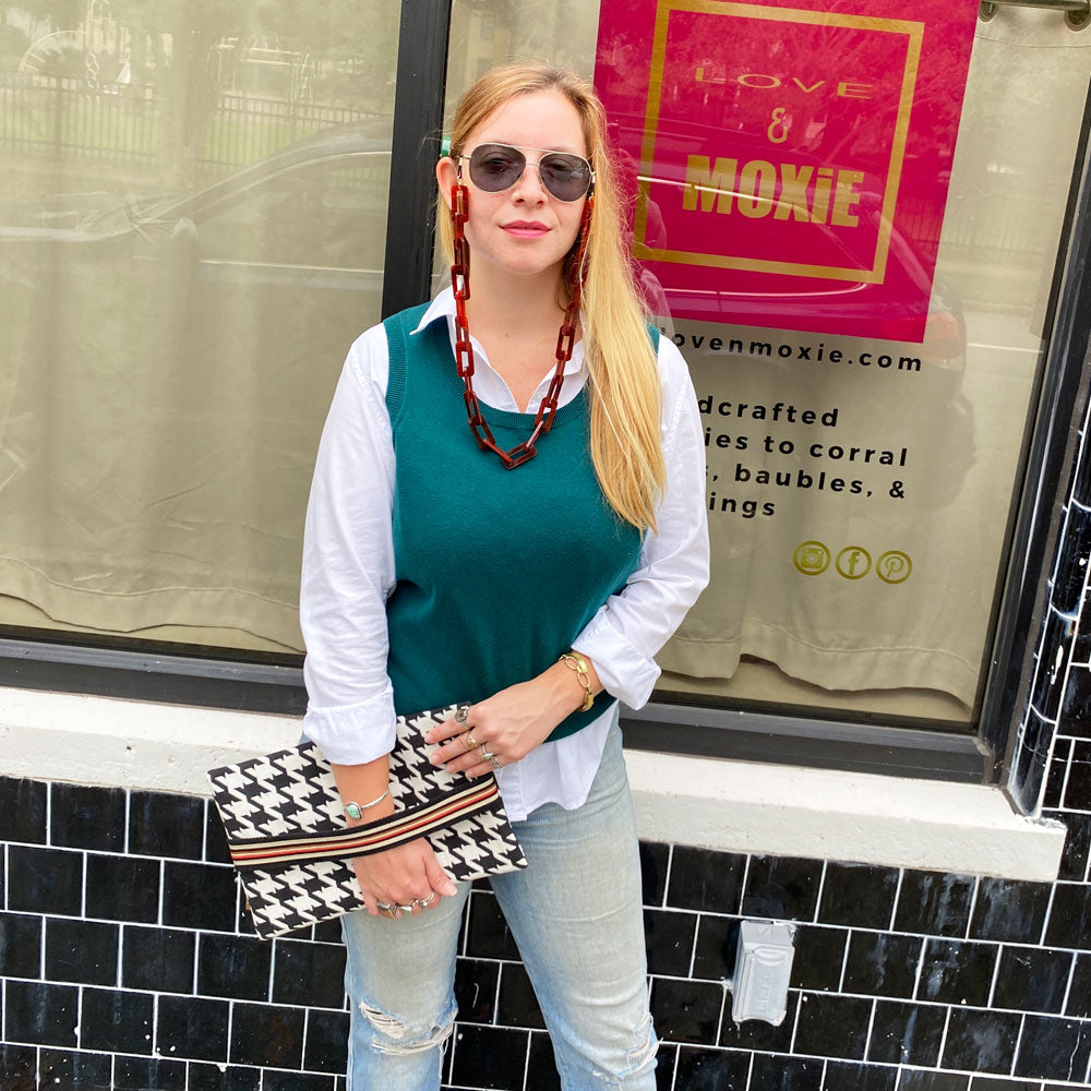 Oxford Houndstooth Clutch