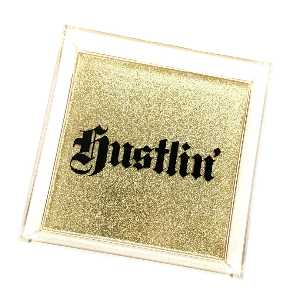 Hustln' Glitter Hand Poured Resin Tray