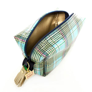 plaid mini boxy zipper bag