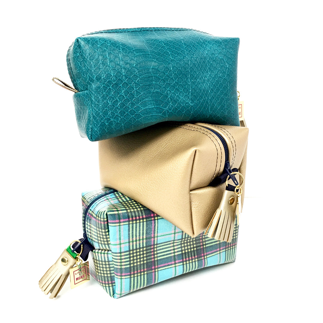 small boxy bag plaid gold teal