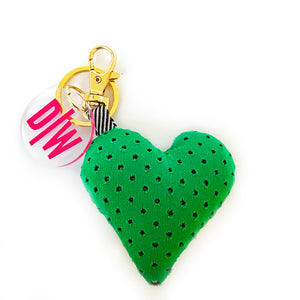 Gold Plush Heart Purse Charm & Key Chain