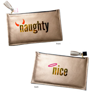 Naughty & Nice Gold Clutch Bag