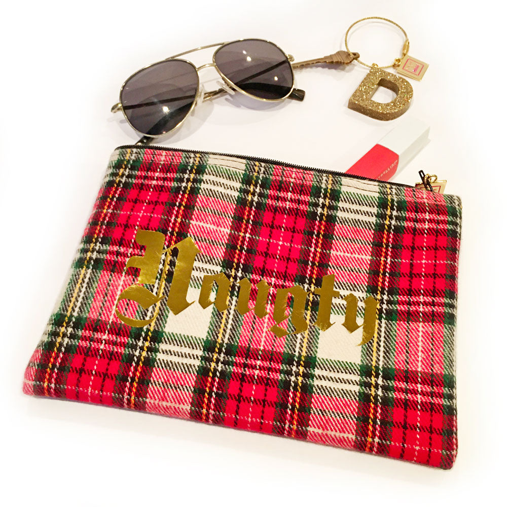 Naughty & Nice Plaid Zipper Pouch