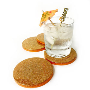 Felicity Hand Poured Resin Coaster Set - Orange