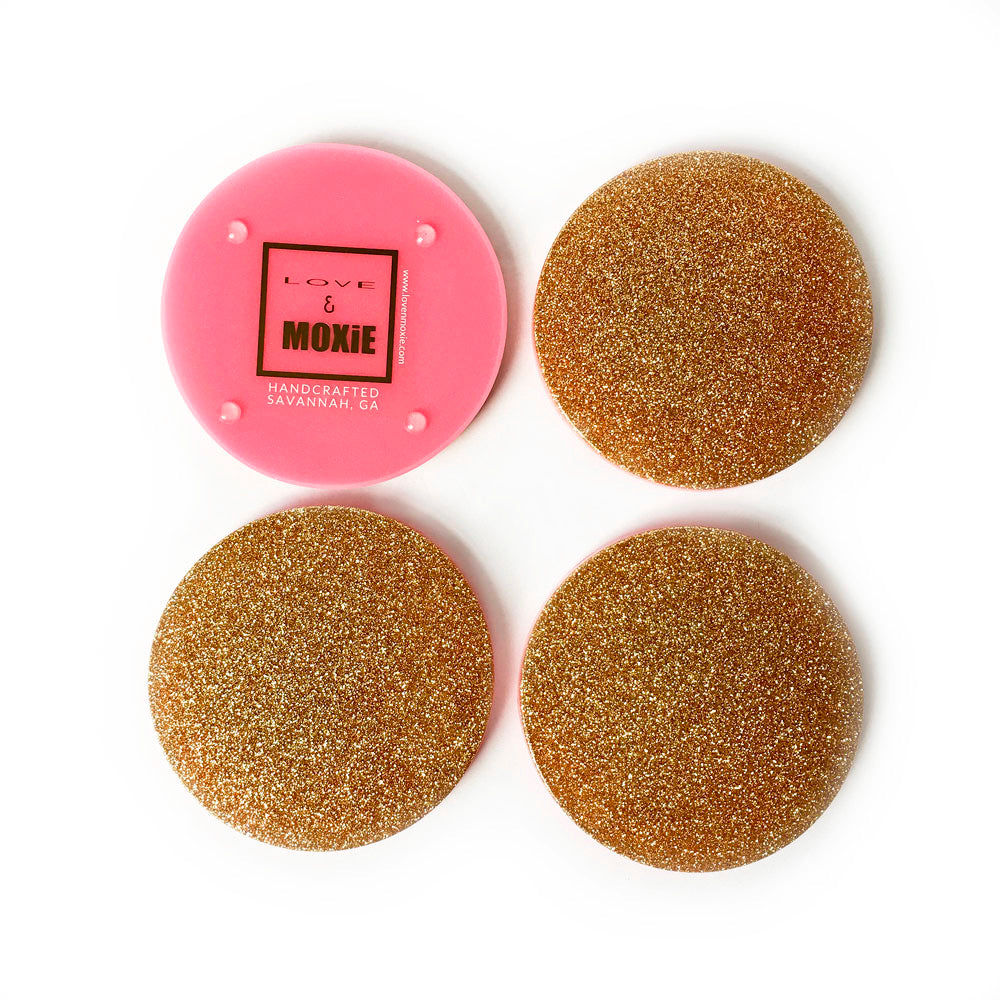 Felicity Hand Poured Resin Coaster Set - Pink