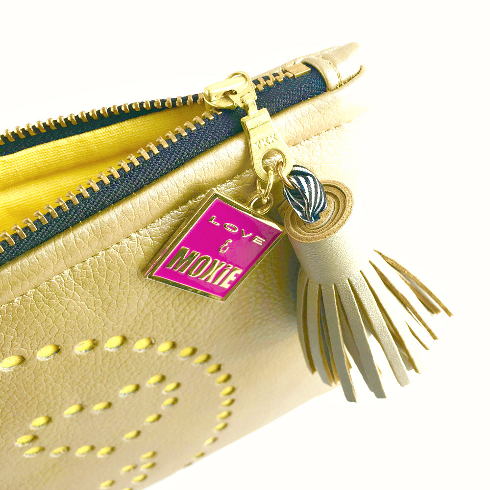 Heart-Eye Emoji Gold & Yellow Clutch