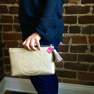 heart-eye emoji purse clutch bag