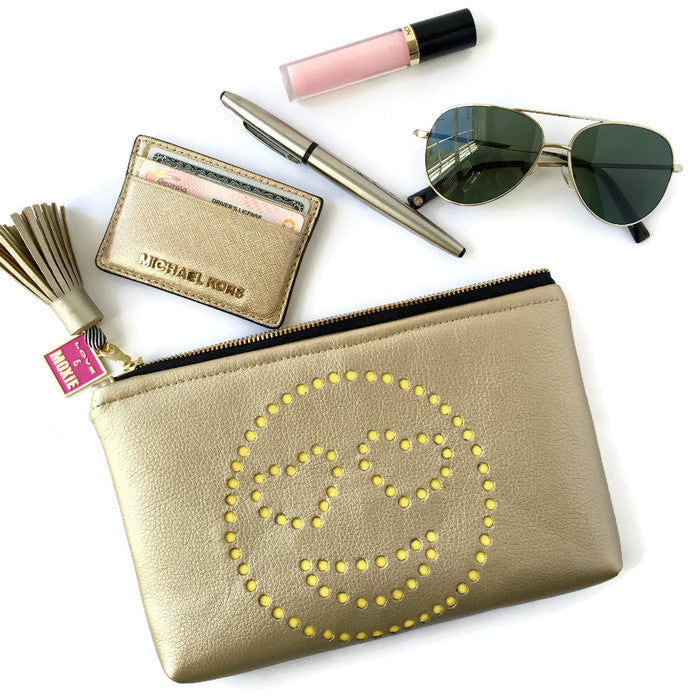 gold emoji clutch