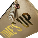 times up gold clutch purse bag