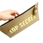 top secret gold zipper pouch bag