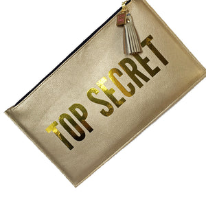 top secret gold clutch statement bag