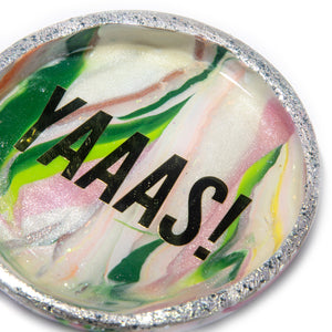 Pink & Green Marbled Yaaas! Trinket Dish
