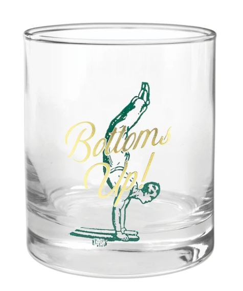 "Barware Rocks Glass | ""Bottoms Up!"""