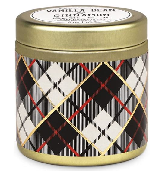 Travel Tin Candle Tartan Vanilla Bean & Cinammon